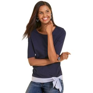 Talbots 100% Pima Cotton Jersey Bow Top